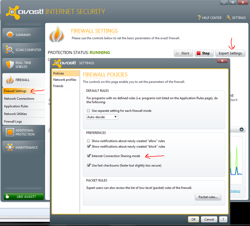 avast mobile firewall settings